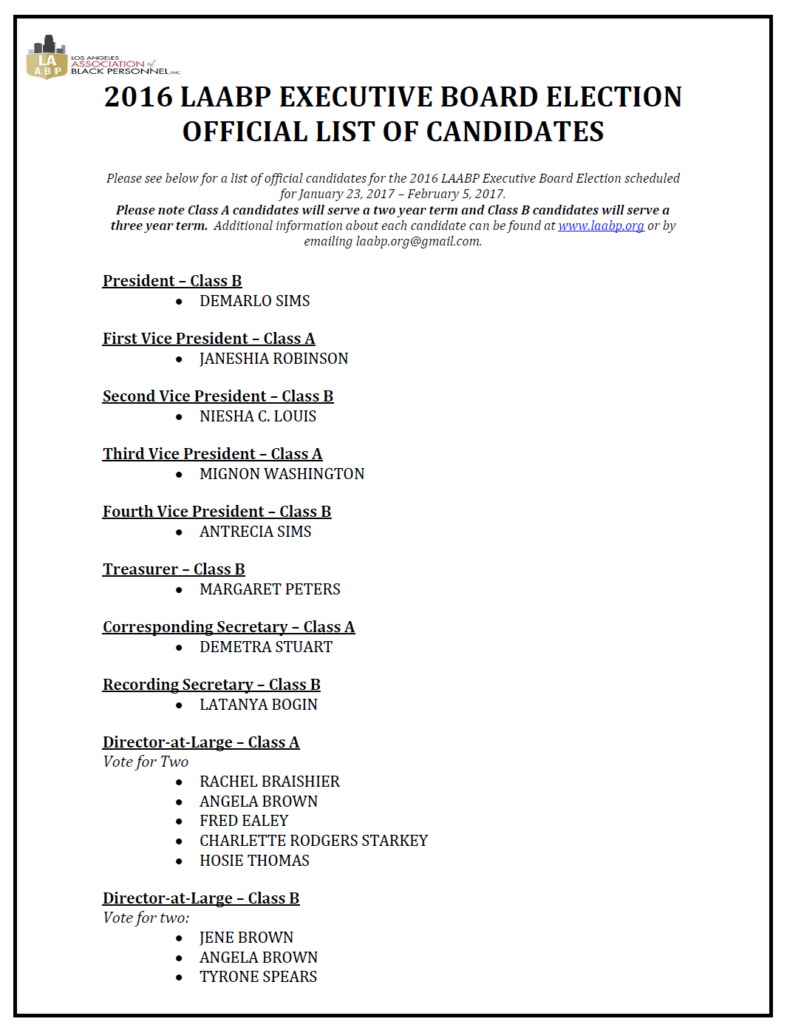 FINAL CANDIDATE LIST NEW DATES
